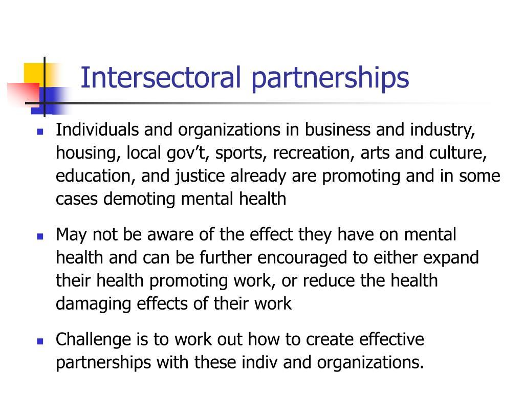 Intersectoral partnerships