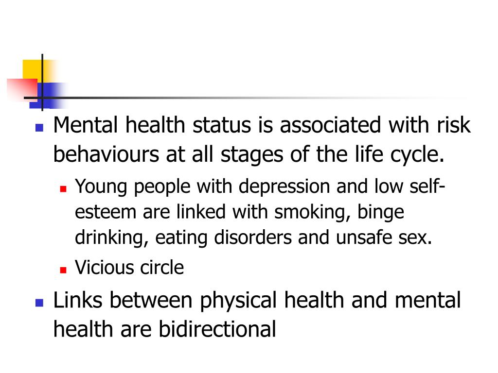 Mental health status is associated with risk behaviours at all stages of the life cycle.