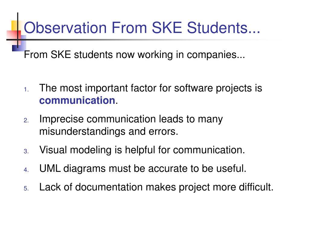 Observation From SKE Students...