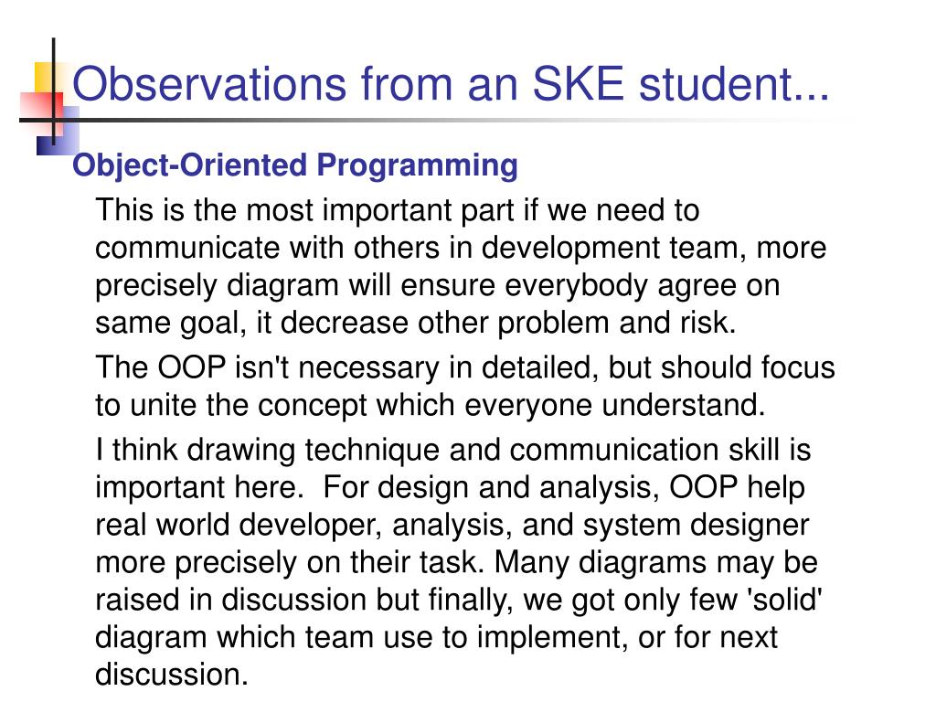 Observations from an SKE student...