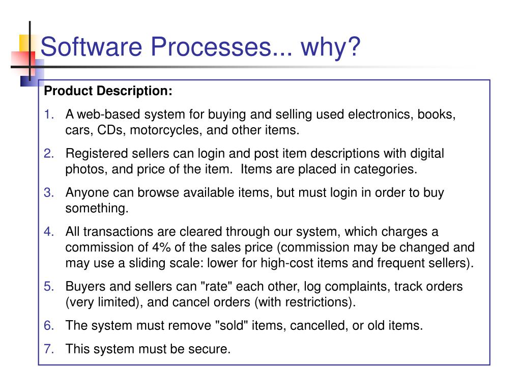Software Processes... why?