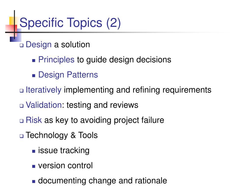 Specific Topics (2)