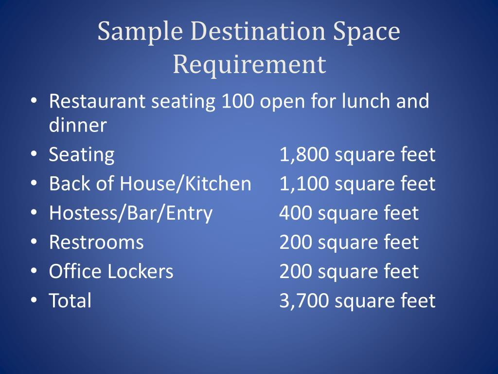 Sample Destination Space Requirement