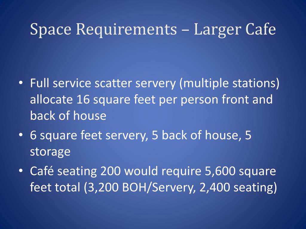Space Requirements – Larger Cafe