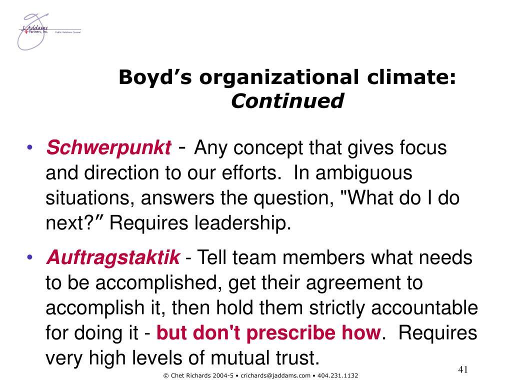 Boyd's organizational climate: