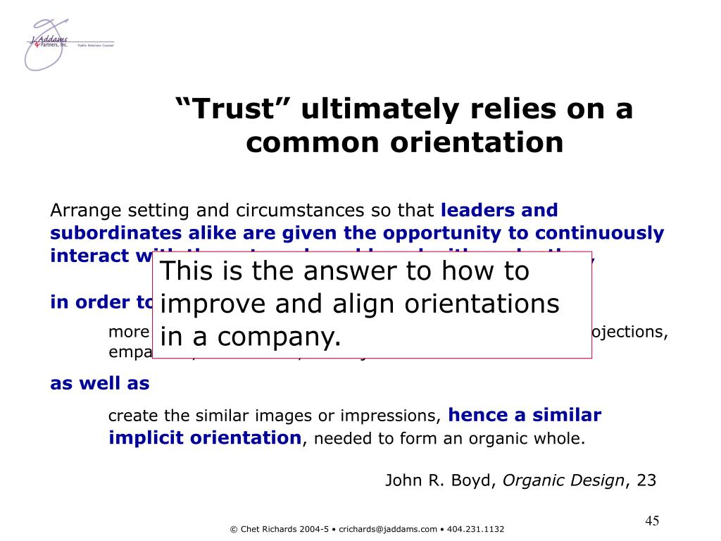 """Trust"" ultimately relies on a common orientation"