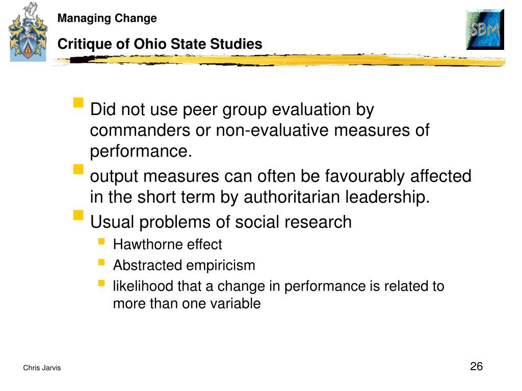 Critique of Ohio State Studies
