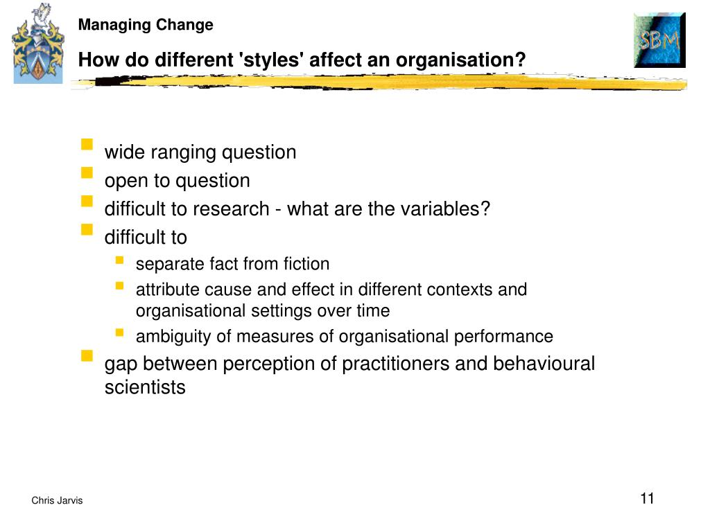 How do different 'styles' affect an organisation?