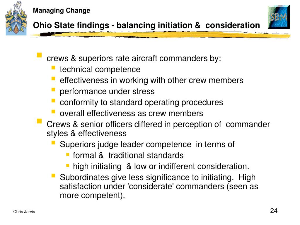 Ohio State findings - balancing initiation &  consideration