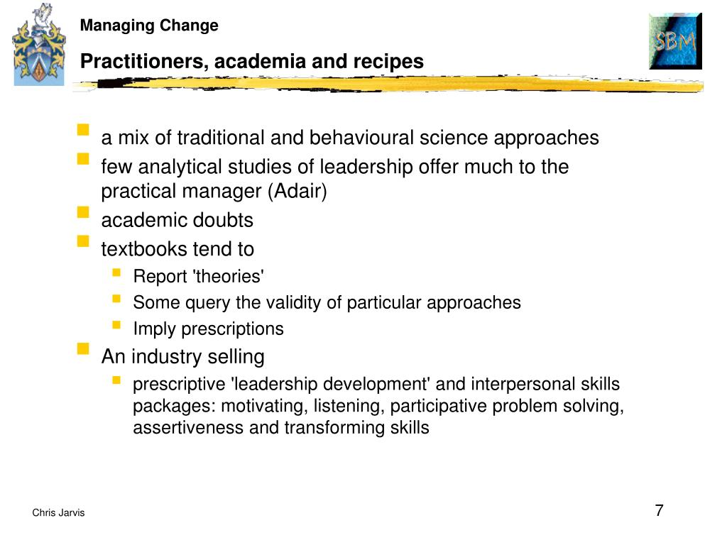 Practitioners, academia and recipes
