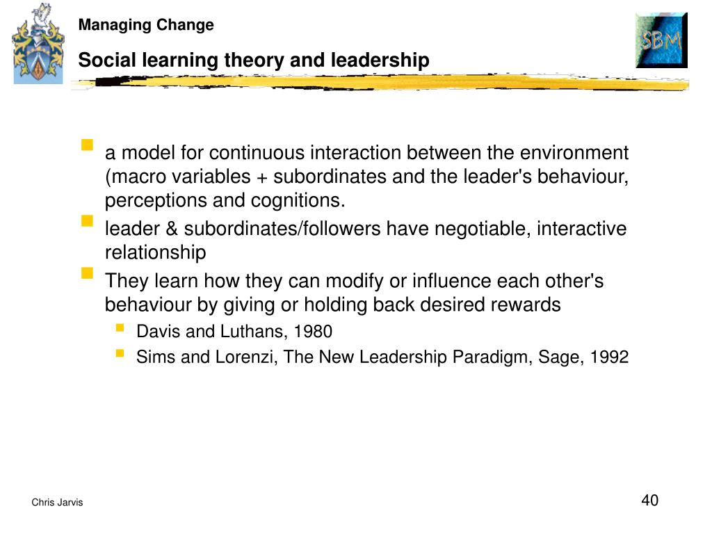 Social learning theory and leadership