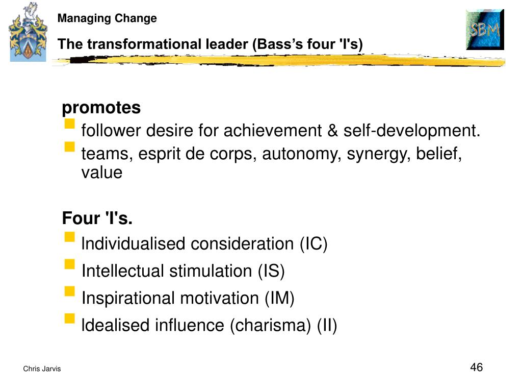 The transformational leader (Bass's four 'I's)