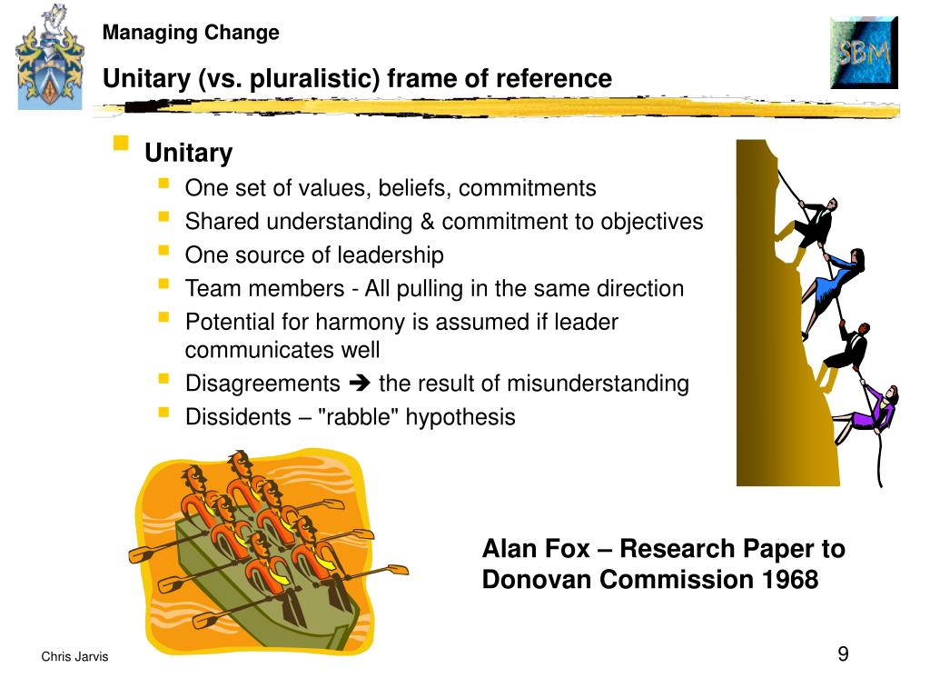 Unitary (vs. pluralistic) frame of reference