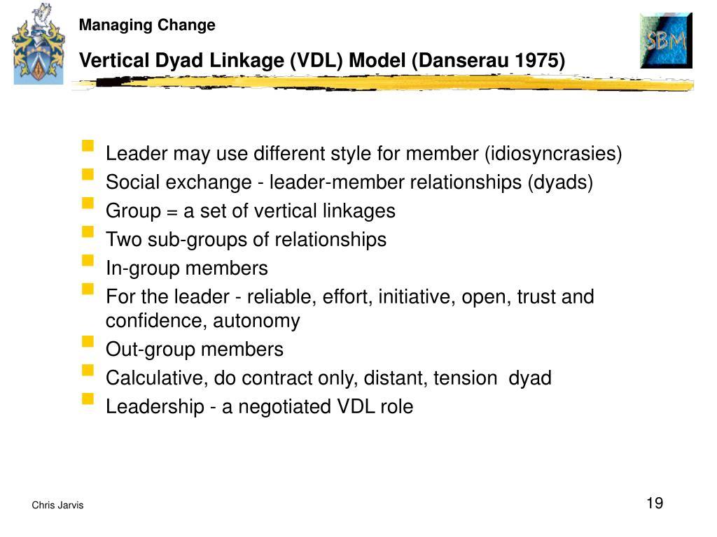 Vertical Dyad Linkage (VDL) Model (Danserau 1975)