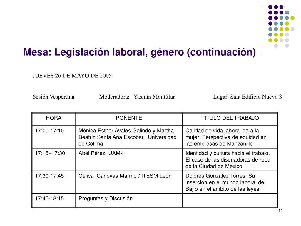 Mesa: Legislación laboral, género (continuación)