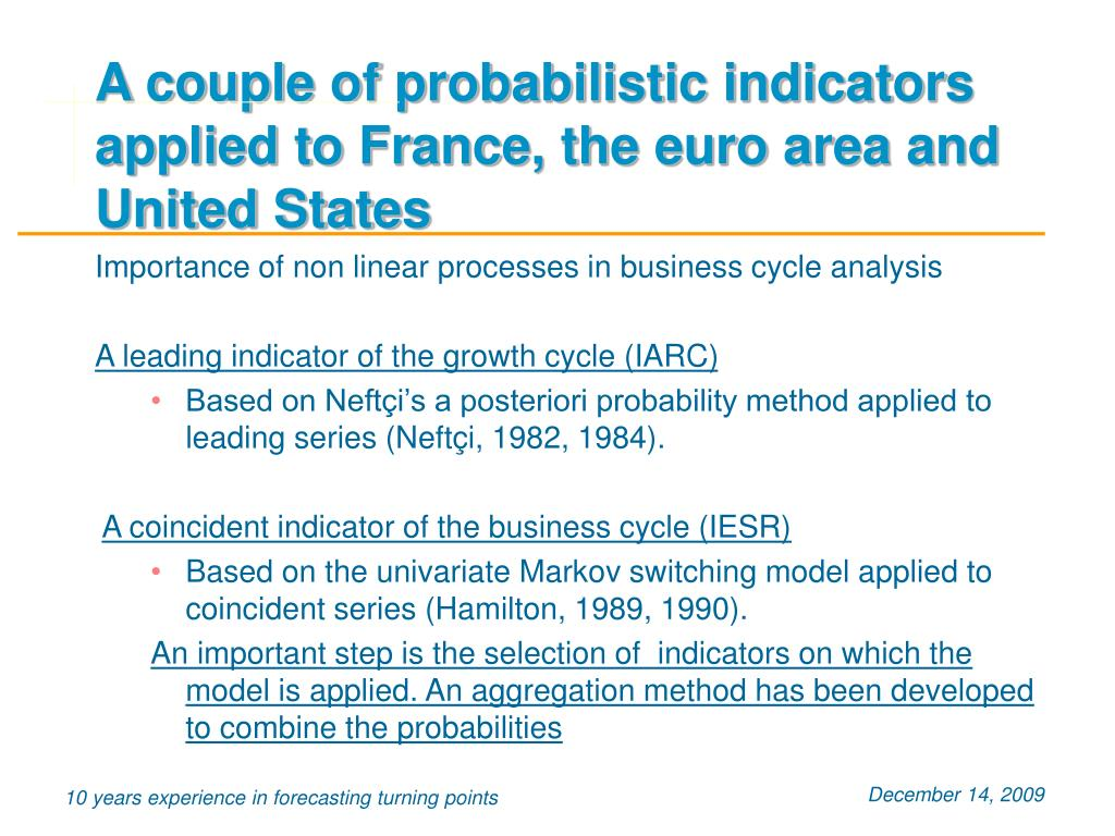 A couple of probabilistic indicators applied to France, the euro area and United States