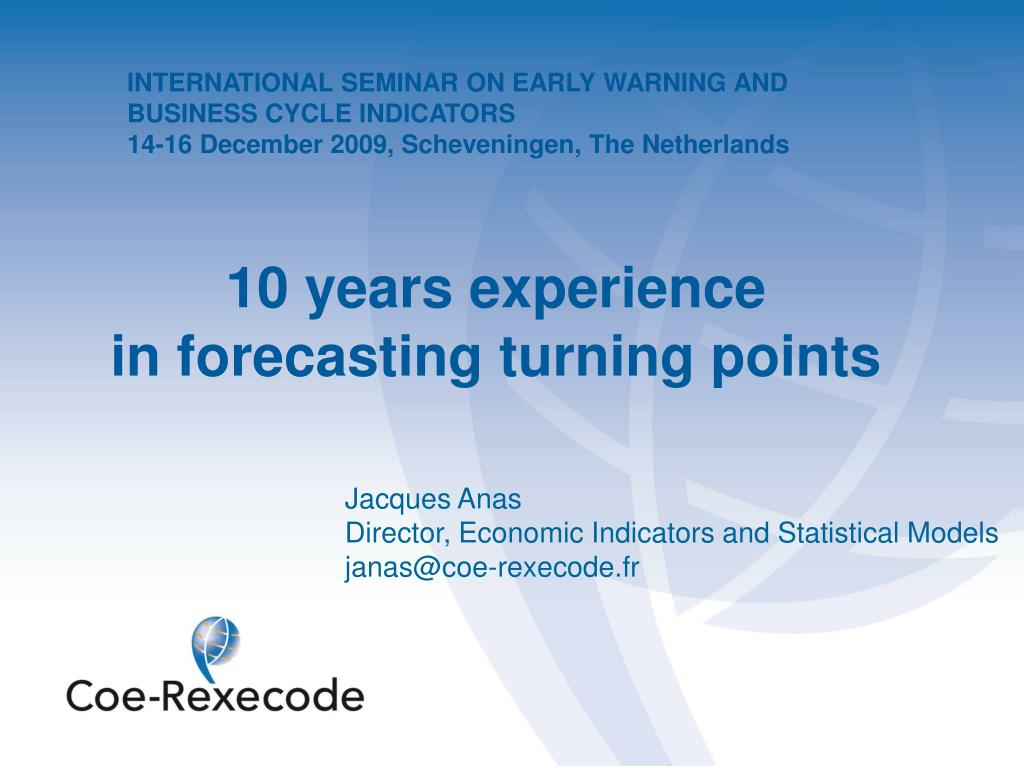 INTERNATIONAL SEMINAR ON EARLY WARNING AND BUSINESS CYCLE INDICATORS