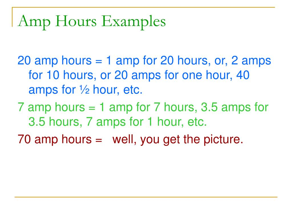 Amp Hours Examples