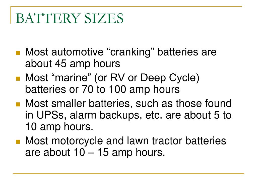 BATTERY SIZES