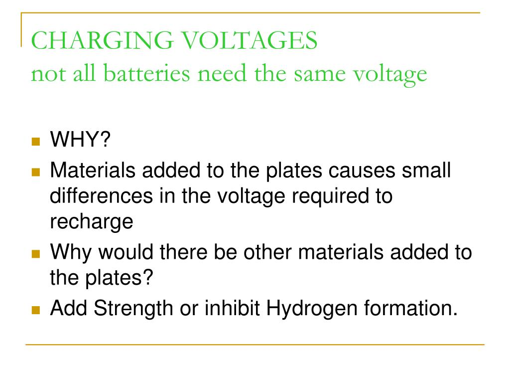 CHARGING VOLTAGES
