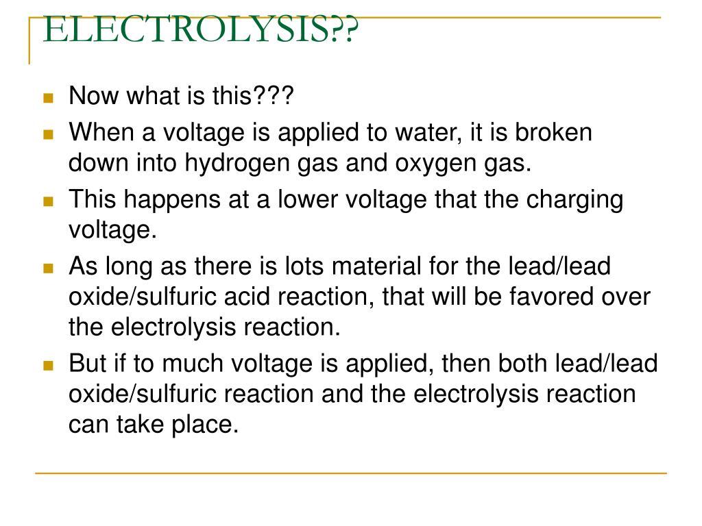ELECTROLYSIS??