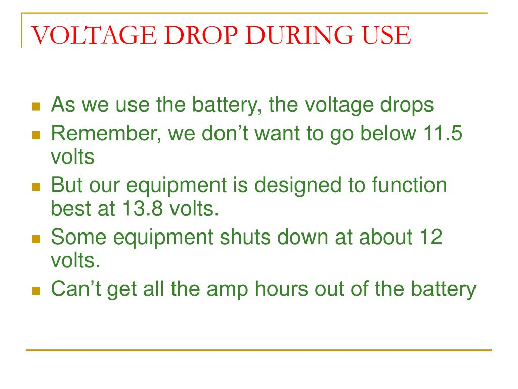 VOLTAGE DROP DURING USE