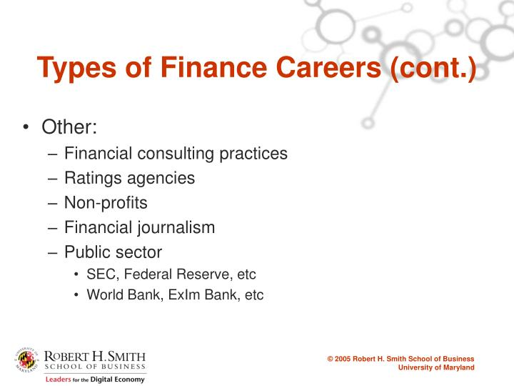 Types of Finance Careers (cont.)