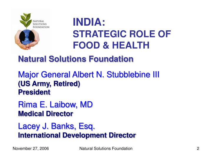 India strategic role of food health l.jpg