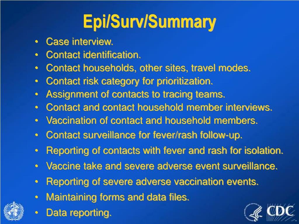 Epi/Surv/Summary