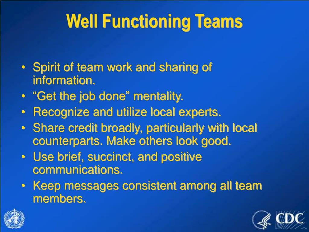 Well Functioning Teams