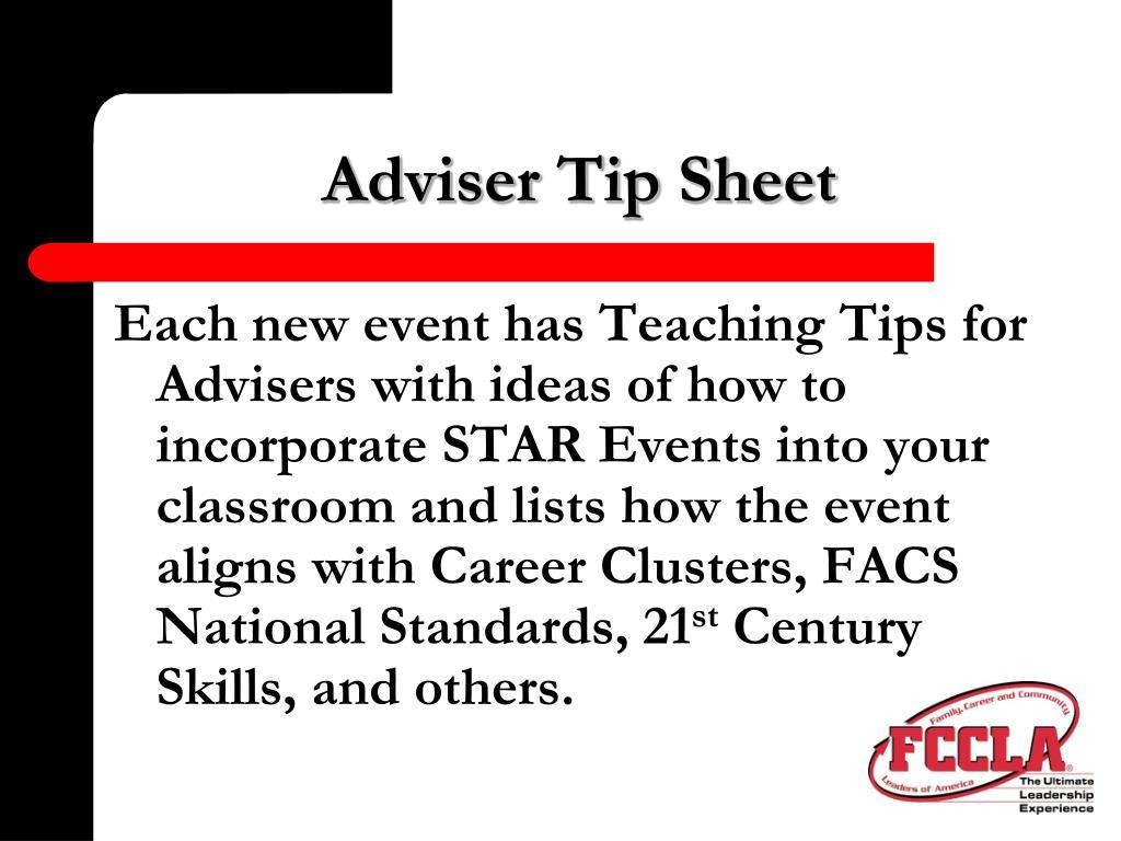 Adviser Tip Sheet