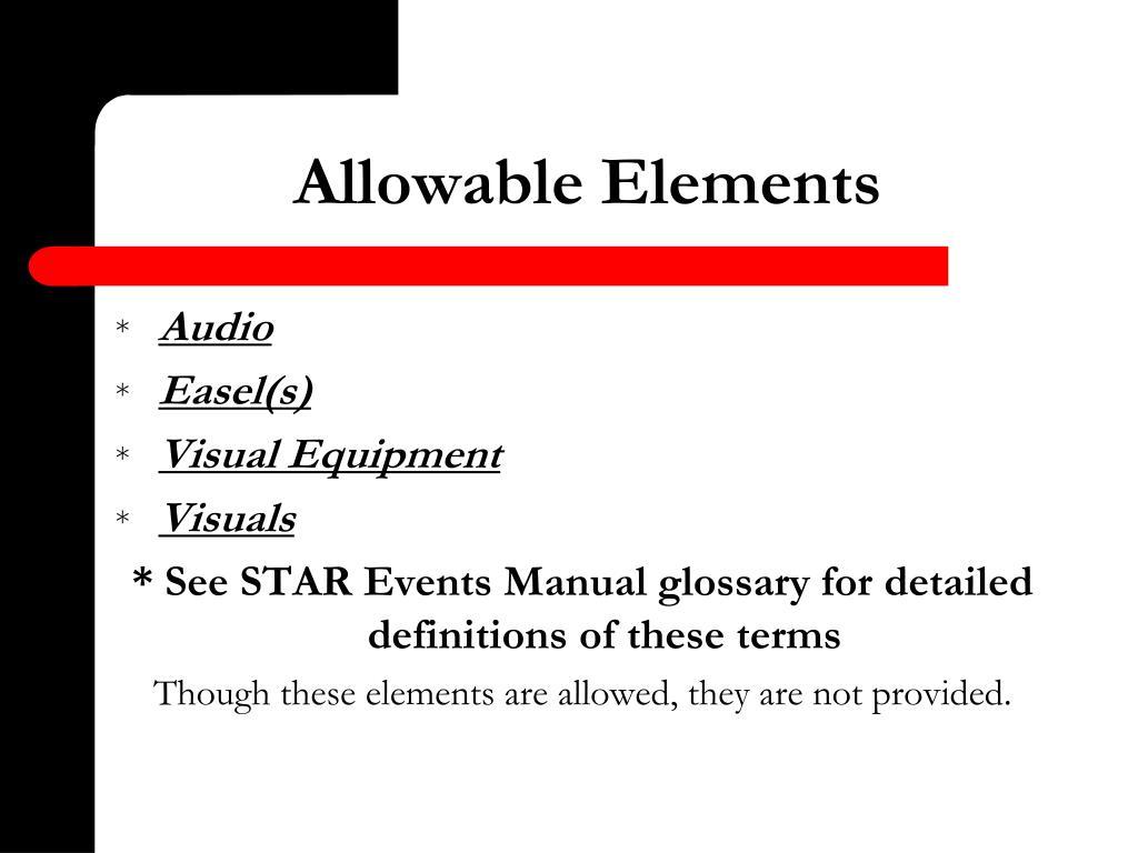 Allowable Elements