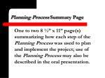 planning process summary page