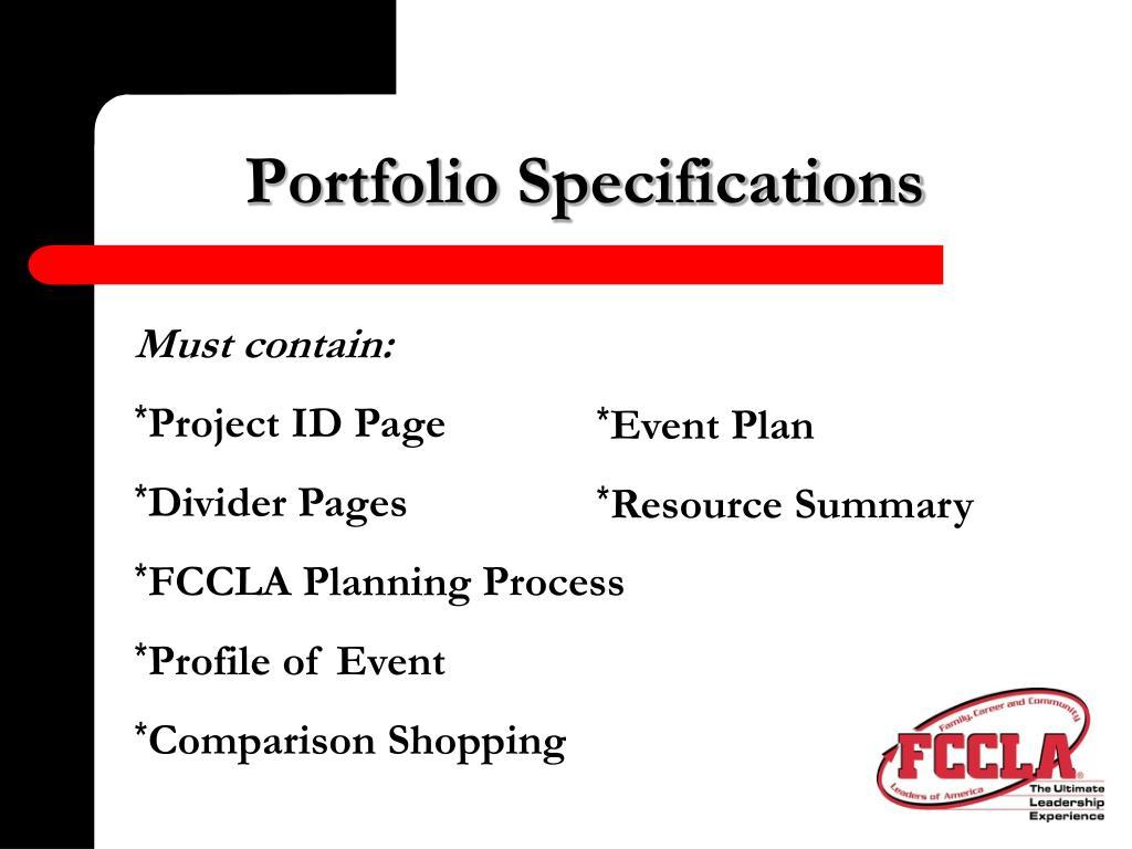 Portfolio Specifications