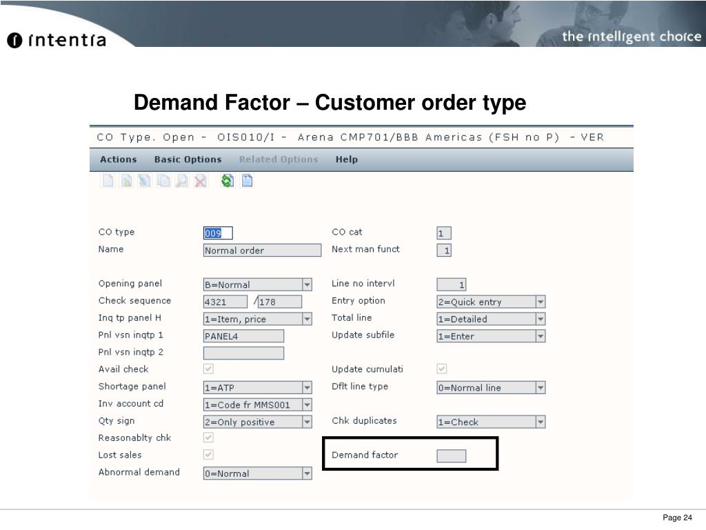 Demand Factor – Customer order type