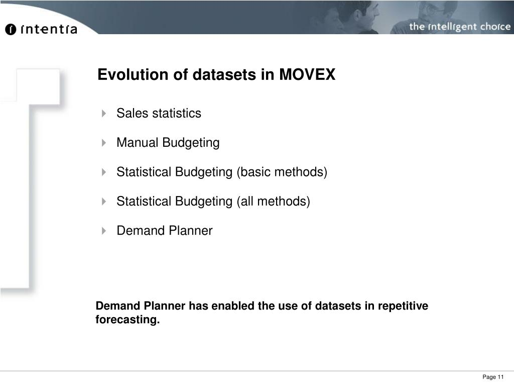 Evolution of datasets in MOVEX
