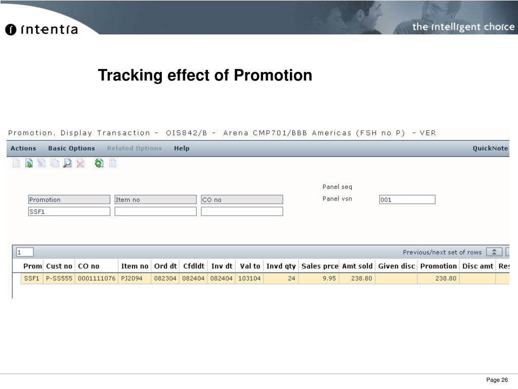 Tracking effect of Promotion