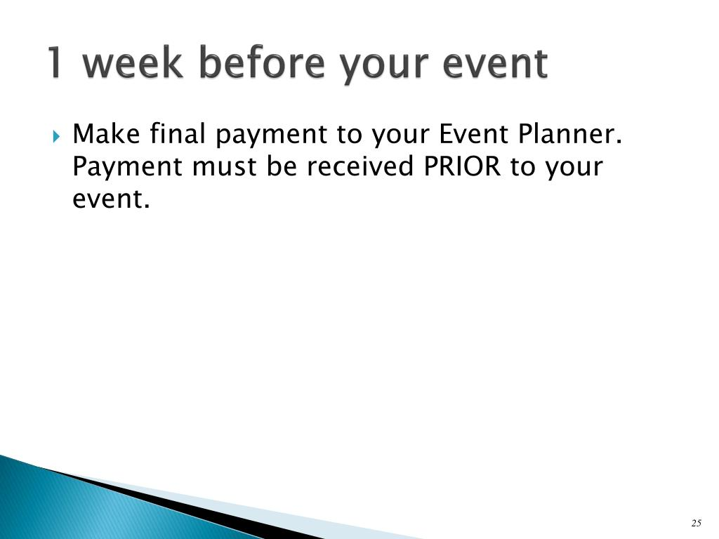 1 week before your event