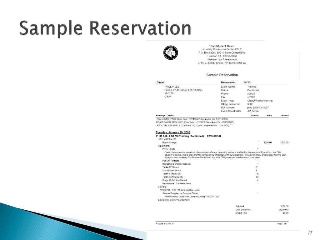 Sample Reservation
