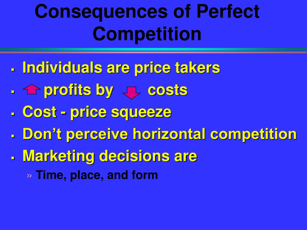 Consequences of Perfect Competition