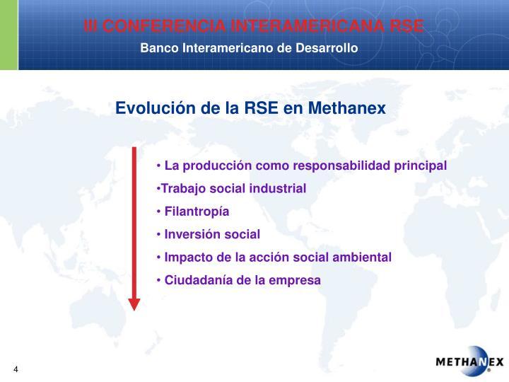 Evolución de la RSE en Methanex