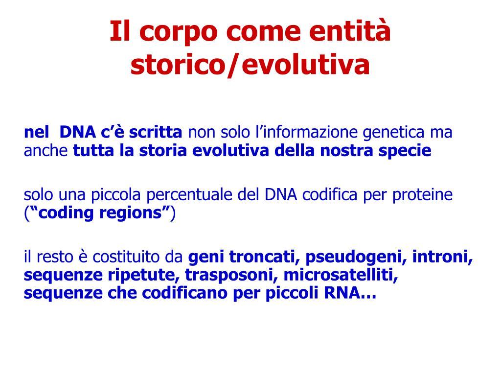 Il corpo come entità storico/evolutiva