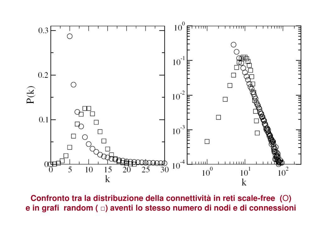 Confronto tra la distribuzione della connettività in reti scale-free  (