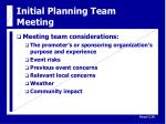 initial planning team meeting