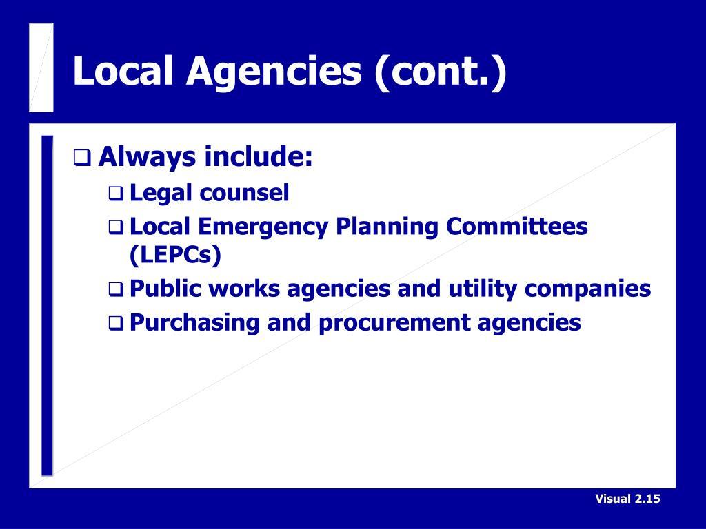 Local Agencies (cont.)