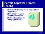 permit approval process cont