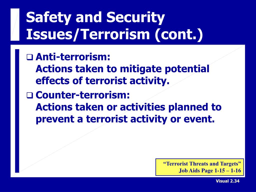 Safety and Security Issues/Terrorism (cont.)
