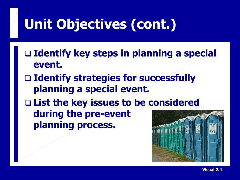 Unit Objectives (cont.)