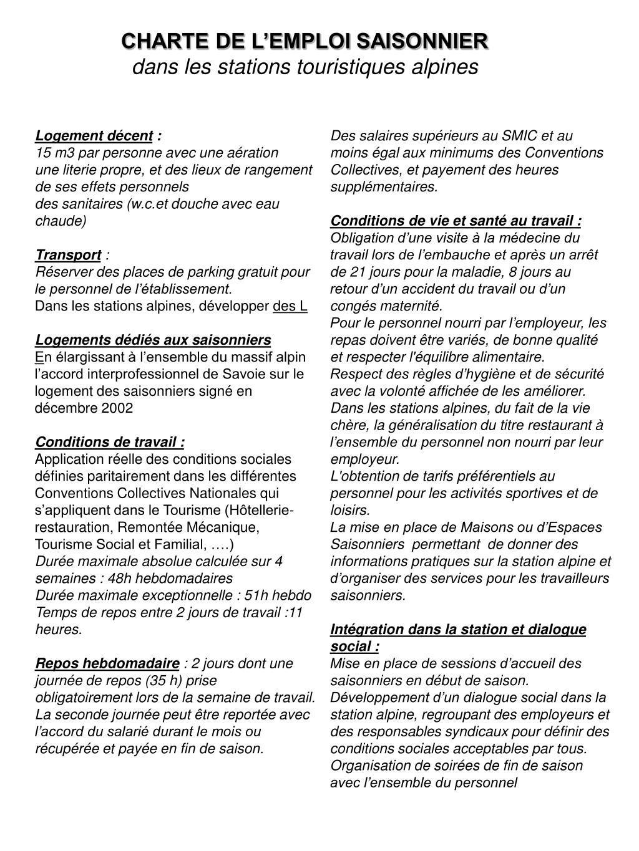 CHARTE DE L'EMPLOI SAISONNIER