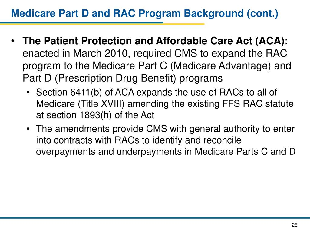 Medicare Part D and RAC Program Background (cont.)